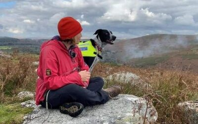 Catherine and Trainee Search Dog on BBC News